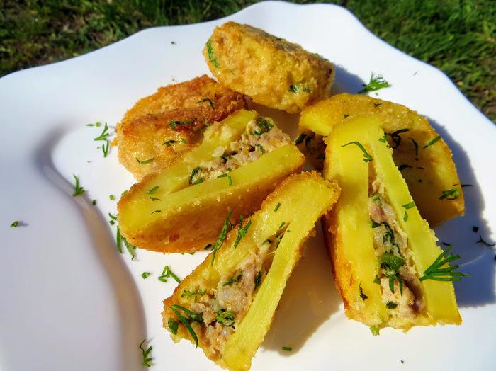 Картофельные кармашки с мясом кулинария,мясные блюда