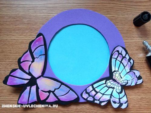 Декор фоторамки бабочками