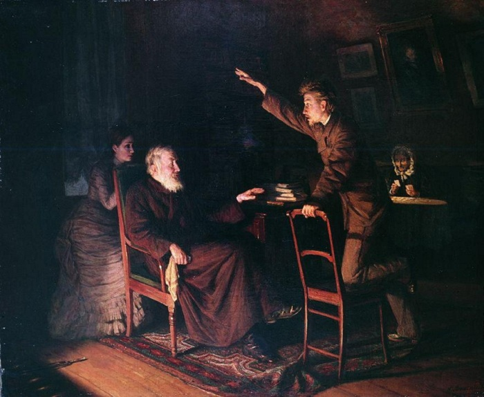 «Старое и молодое» (1881 год). Автор: Н. Ярошенко.