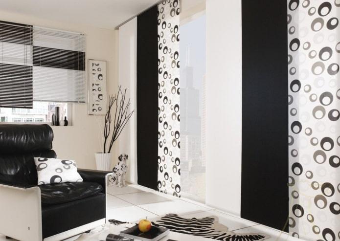 черно-белые японские панели в интерьере