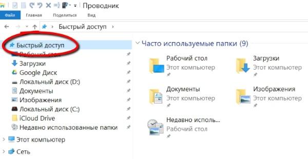Как удалить значок быстрого доступа из проводника в Windows 10