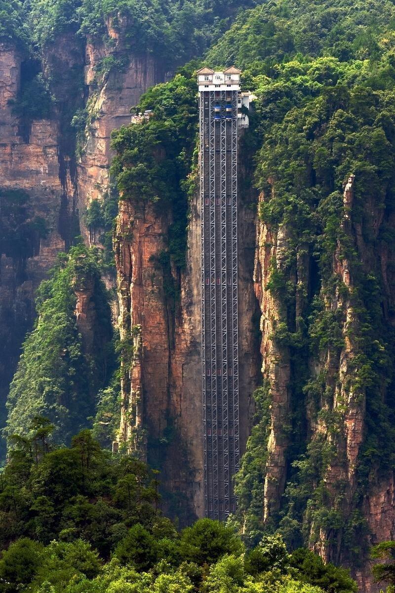 Лифт ста драконов, Хунань, Китай горы, интересное, красота, скалы, стройка, царь природы