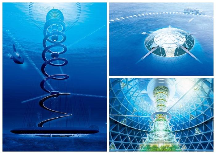 Макет подводного города «Океаническая Спираль» японских разработчиков.