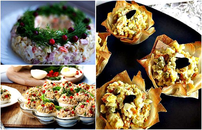 Аппетитные идеи подачи салата оливье.