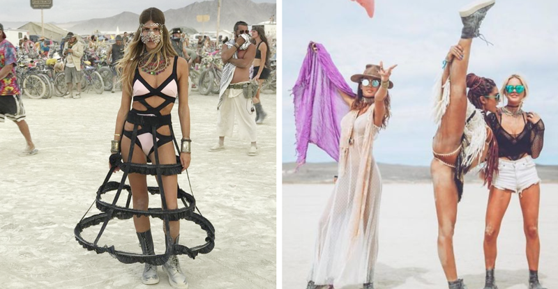 Самые красивые девушки с фестивали света и огня Burning Man 2018