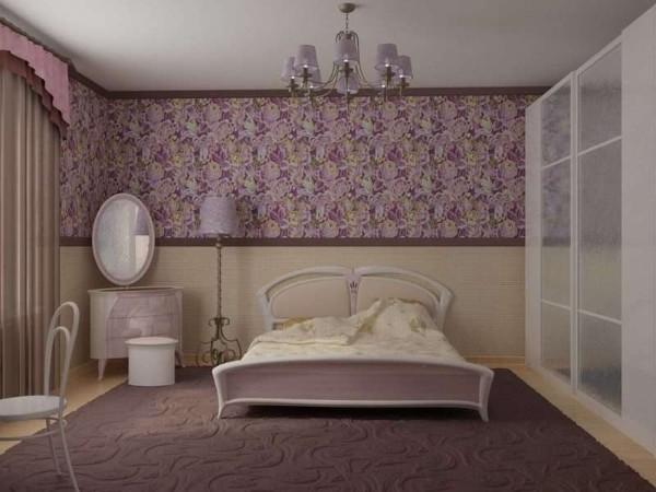 горизонтальное комбинирование в спальне как совместить обои