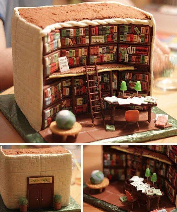 3. Торт в виде библиотеки книги, книголюбы, крутые вещи, способы хранения, фото, чтение