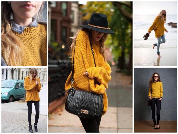 Образы объемных свитеров mustard color