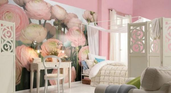 как скомбинировать обои двух видов воздушная спальня