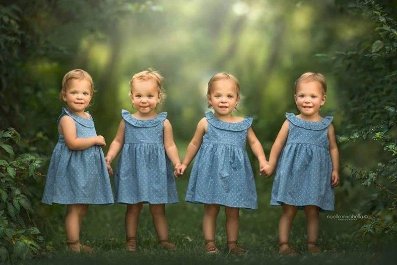 Сегодня девочка по два годика. Они очень активны, веселы, счастливы и продолжают удивлять людей своей абсолютивной внешней идентичностью. жизнь, идентичные, интересное, истории, уникальные, факт, четверняшки