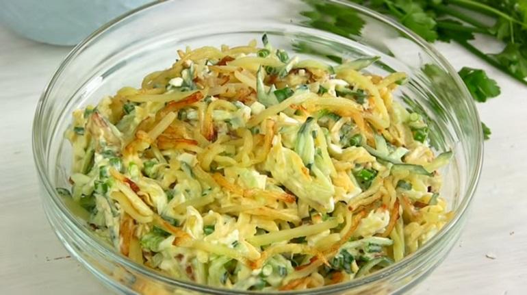 Вкусный салат «Диёр» с жареной картошкой: простое и праздничное блюдо