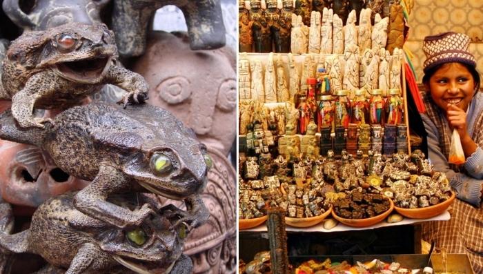 Прогулка по рынку для ведьм в столице Боливии