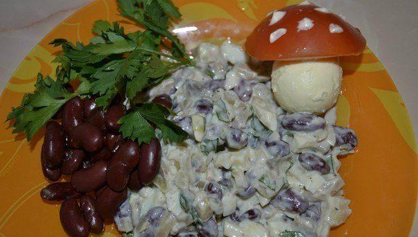 Любимый салатик с фасолью и шампиньонами!