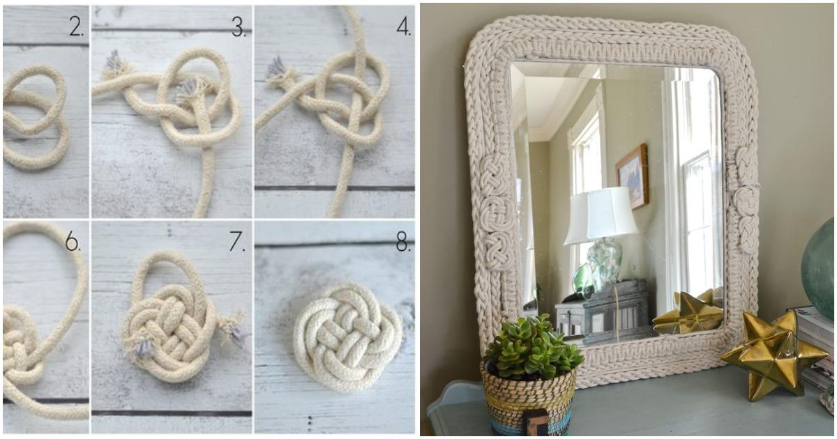 Такая рама для зеркала из плетеных веревок украсит и оживит любой интерьер