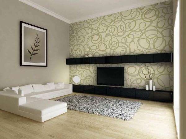 как скомбинировать обои в гостиной минималистический дизайн
