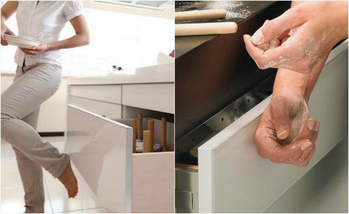 Практичная система «кухня без ручек», которая поможет открыть шкаф пяткой или даже носом