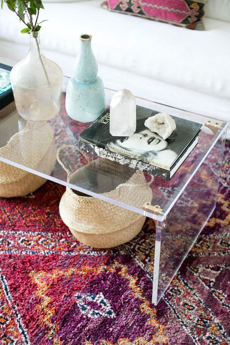 22 lucite coffee table with brass elements for a chic modern look