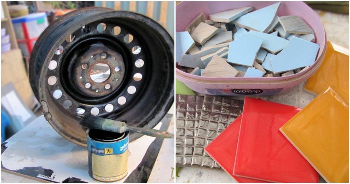 Украсьте свой дачный участок необычным способом с помощью колеса и плитки