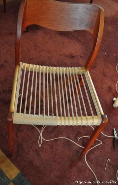 Идеи плетеных сидений для стула или банкетки своими руками