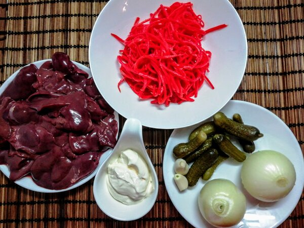 """Рецепт салата с печенкой и морковью по-корейски. Фото автора/Дзен канал """"Вилка.Ложка.Палочки"""""""