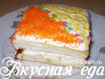 Вкусное и нежное бисквитное пирожное. Фото-рецепт!