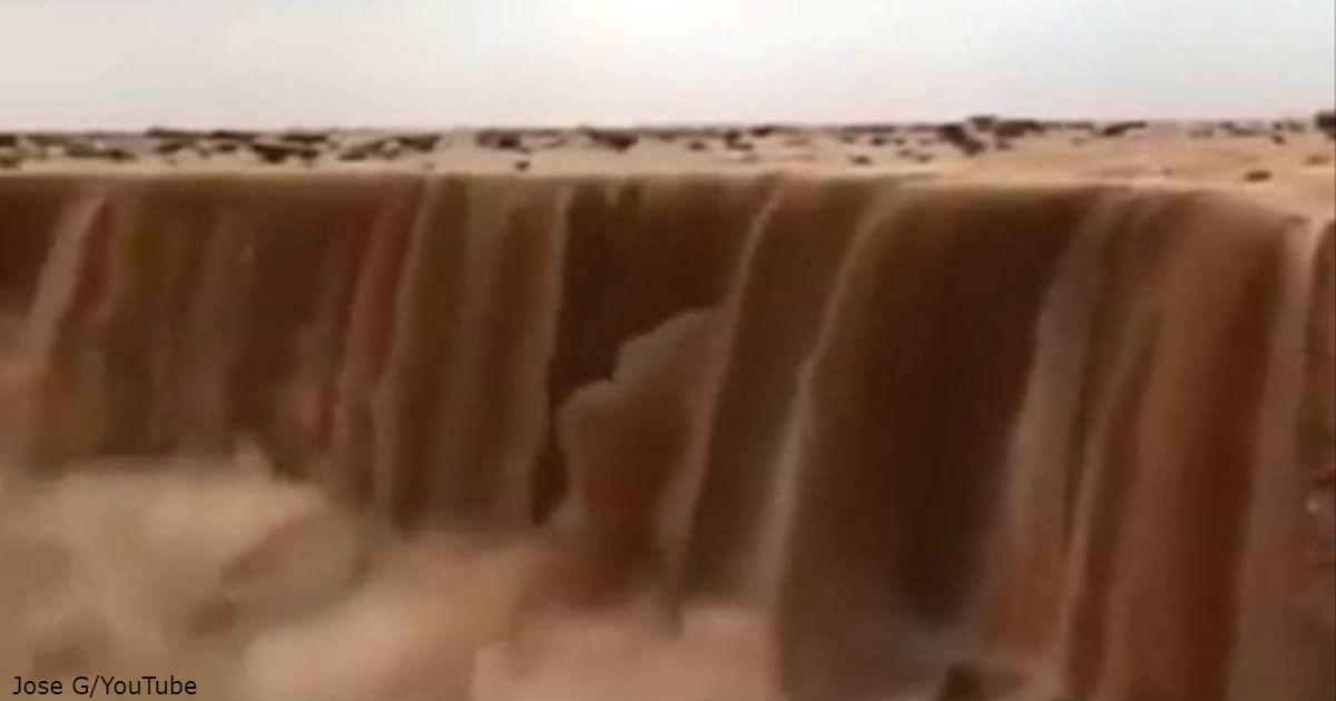 Невероятное явление в Саудовской Аравии: «водопад» из песка!