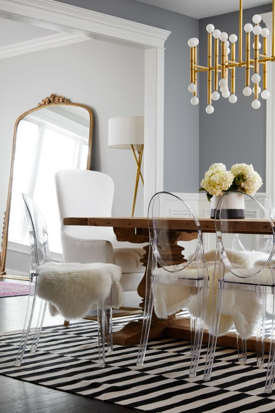 07 acrylic chairs for a dining room look chic with fur covers