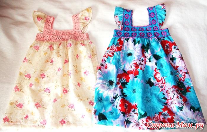 Комбинированные платья на лето крючком - схемы