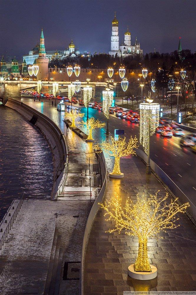 Москворецкая набережная. красиво, красота, москва, новый год, праздник, рождество, столица, фотография