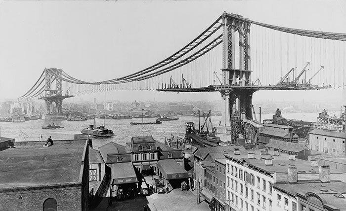 9. Манхэттенский мост. Нью-Йорк, США архитектура, достопримечательности, интересно, исторические фото, исторические фотографии, познавательно, сооружения, строительство