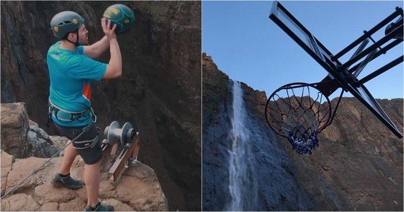 Австралиец бросил баскетбольный мяч с высоты в 200 метров и установил новый мировой рекорд в мире, видео, водопад, корзина, мировой рекорд, мяч, рекорд