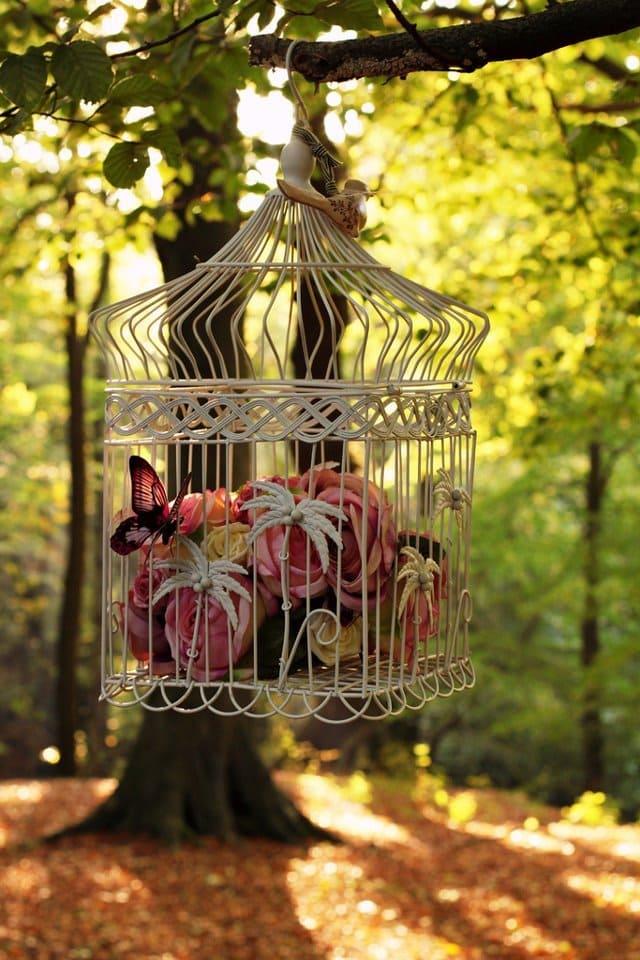 Чудесные идеи использования клетки для птиц в качестве декоративного элемента вдохновляемся,для дома и дачи,интерьер