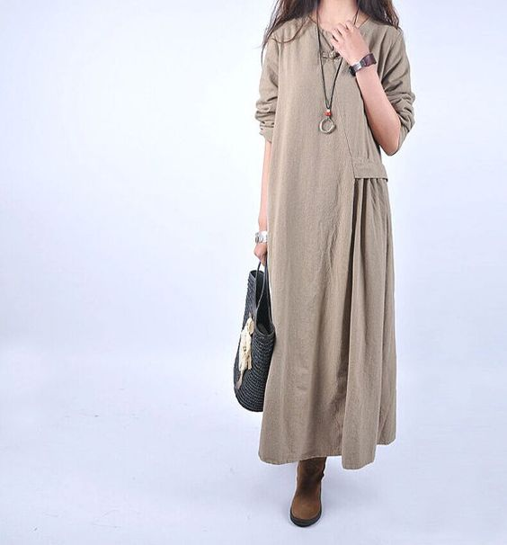 Cotton and linen dress long skirt Flax thick spring by babyangella: