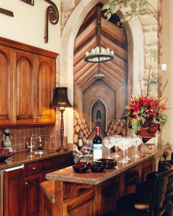 Романтичные фотообои для кухни - фото с эффектом фрески