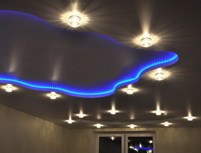 парящая конструкция с точечным освещением