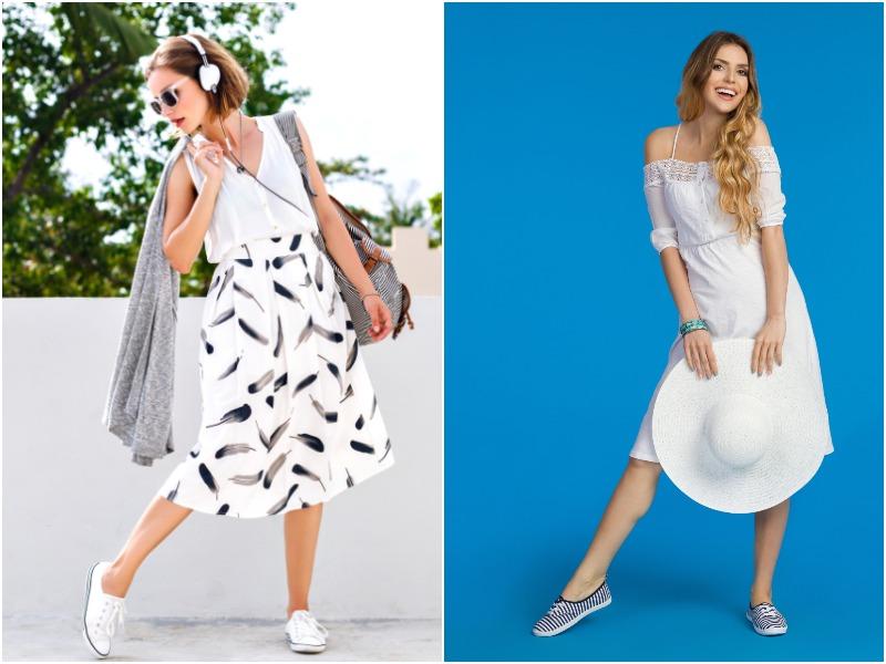 Как красиво сочетать платье и кроссовки