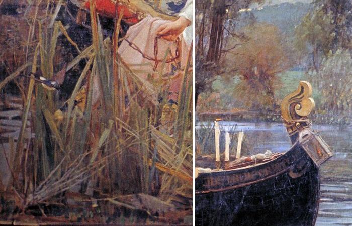 Уотерхаус «Леди из Шалот», 1888 (фрагменты)