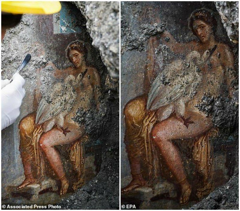 """Древняя фреска изображает оплодотворение королевы Спарты, Леды, богом в облике лебедя, и написана по мотивам античного мифа """"Леда и лебедь"""". ynews, археологи, древние артефакты, искусство, находки, новости, помпеи, фреска"""