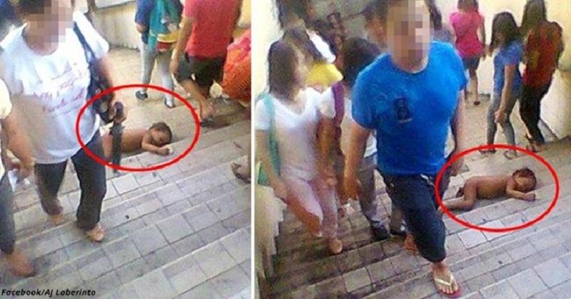 Беззащитный голый малыш лежит на ступеньках. Люди обходят его стороной.