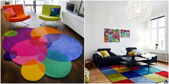 Такой ковер украсит любую комнату и придаст ярких и насыщенных цветов.