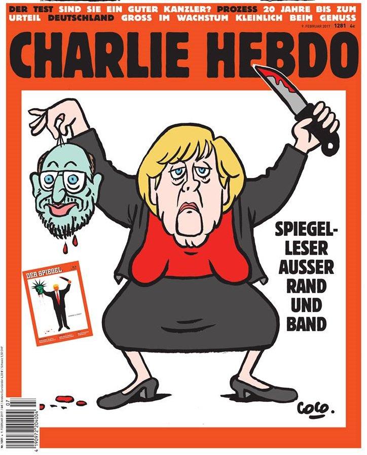 Charlie Hebdo изобразил Меркель с отрезанной головой Шульца в руках