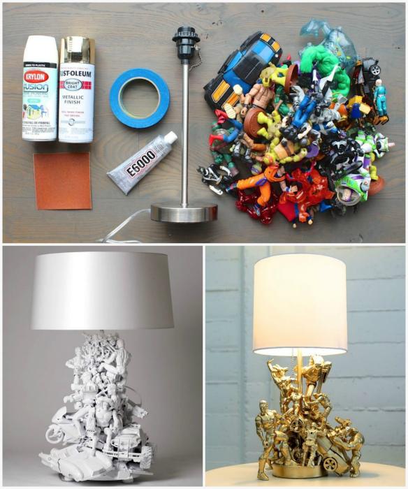 Настольная лампа, декорированная игрушками.
