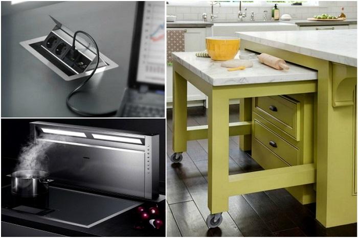 Великолепные приспособления в дизайне маленькой кухни.