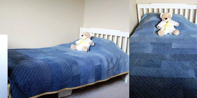 Стёганое одеяло-плед из старых джинсов: мастер-класс мастер-класс,шитье