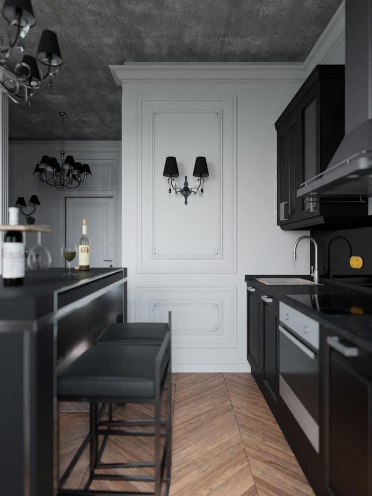 Кухня/столовая в цветах: Светло-серый, Серый, Черный, Бежевый, Синий. Кухня/столовая в стиле: Неоклассика.