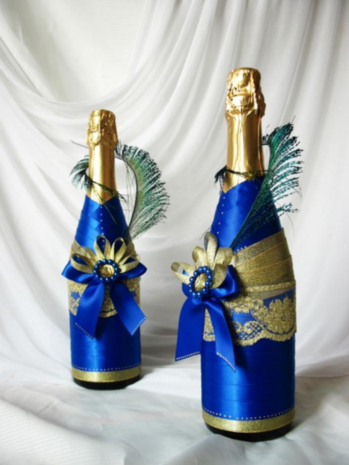 упаковка шампанского с помощью лент - результат