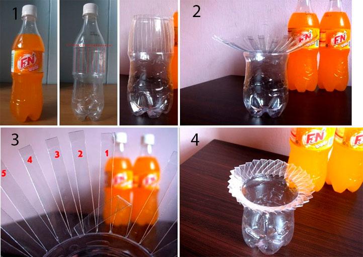 Вазы из пластиковых бутылок для дома и дачи,поделки из пластиковых бутылок