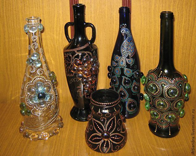Создание хрустальной сказки (роспись стеклянной бутыли)