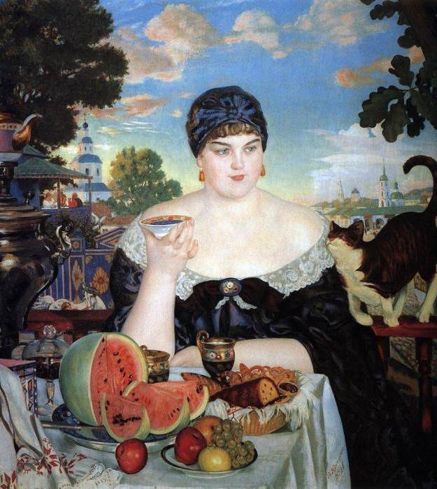 Б. Кустодиев. Купчиха за чаем, 1918