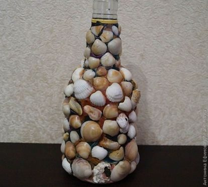 Декорируем бутылку ракушками декор,ракушки,рукоделие,своими руками
